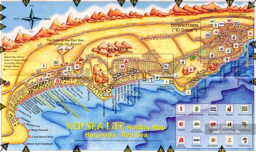 Карта Хургады