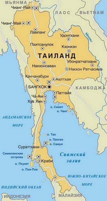 карта Таиланда курорты