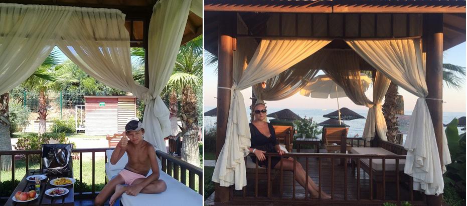 Eftalia Aqua Resort шатры на пляже мы