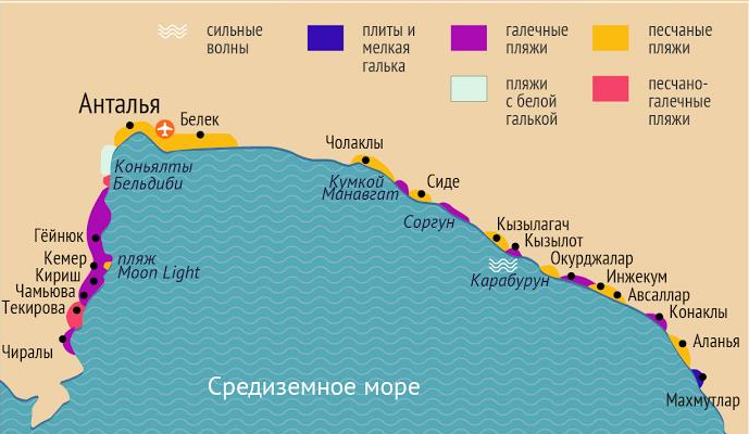 карта курортов турции относительно аэропорта