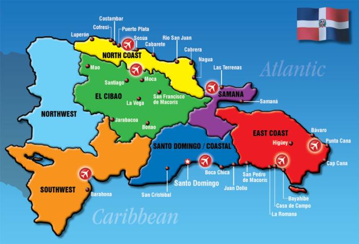 доминкана карта курортов
