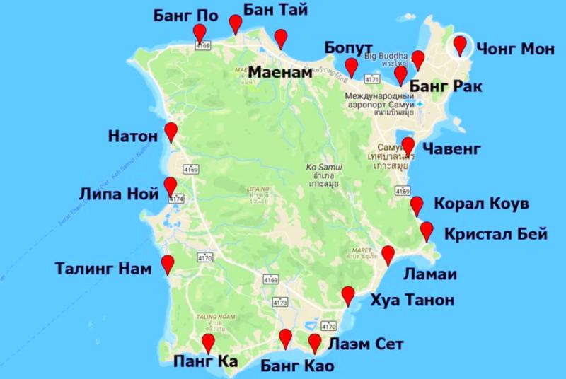 Самуи карта пляжей